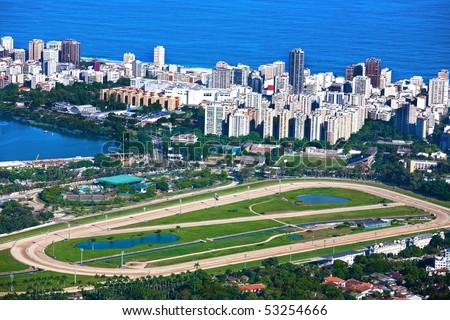 aerial view of the race track of lagoa and leblon in rio de janeiro brazil - stock photo