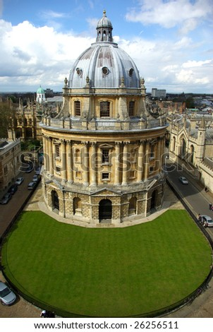 Aerial view of the Radcliffe library in Oxford (UK). - stock photo