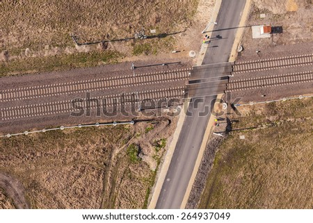 aerial view of the railway crossroad in Poland - stock photo