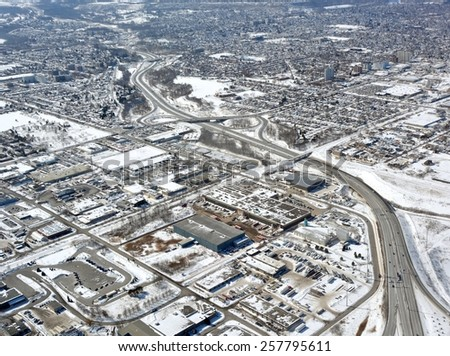 aerial view of the Red Hill Express way in Hamilton Ontario, Winter scene - stock photo