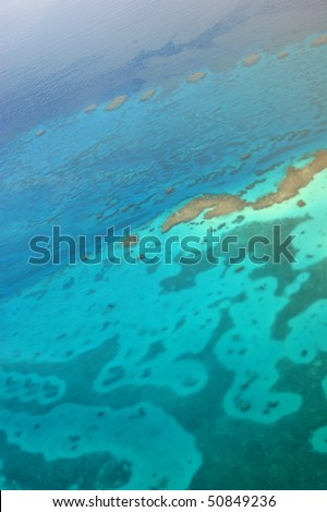 Aerial view of the Red Sea. Warning! Very smooth focus because of the altitude!