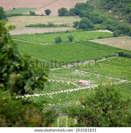 Aerial view of the region of Provence in France - stock photo