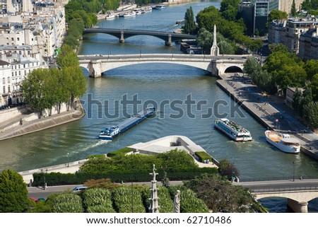 Aerial view of the river Seine at the corner of the Ile de la Cite in Paris - stock photo