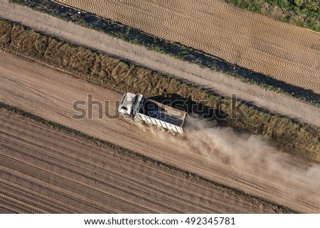 aerial view of the road truck  on the  construction site in Poland