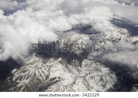 Aerial view of the Rockies - stock photo