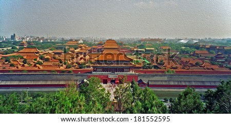 aerial view of the roofs of the forbidden city in Beijing, China, stylized and filtered to look like an oil painting