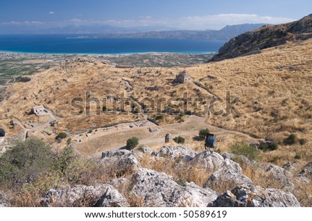 aerial view of the ruins on the acropolis of Corinth (Acrocorinth) and the coast landscape of gulf - stock photo