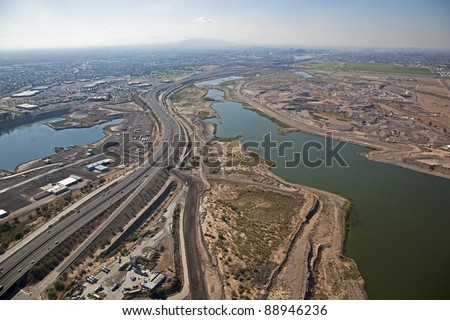 Aerial view of the Salt River from Mesa looking West toward the Tempe Town Lake - stock photo