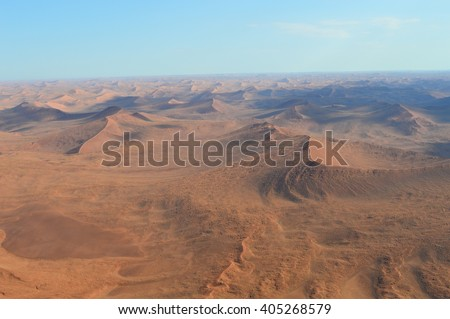 Aerial view of the sand dunes of Sossusvlei, Namibia, Africa.