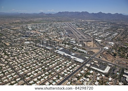 Aerial view of the Scottsdale Airpark, airport and runway - stock photo