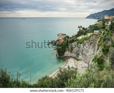 Aerial view of the sea along the Amalfi Coast (Costiera Amalfitana) in Italy.