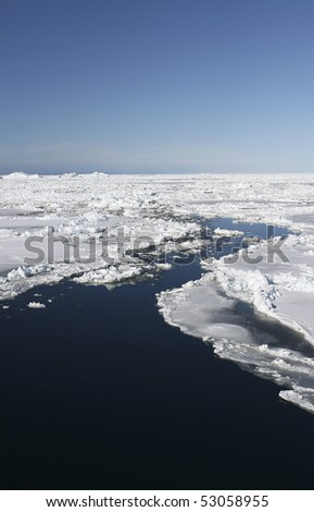 Aerial view of the sea ice in the Weddell Sea, Antarctica - stock photo