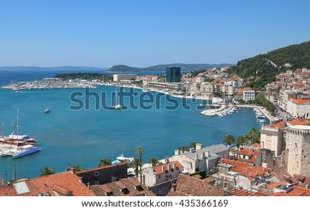 Aerial view of the seaside city of Split, Croatia