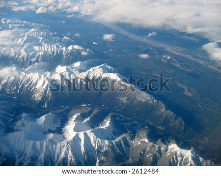 Aerial view of the Selkirk Mountains looking north from Golden, B.C. - stock photo