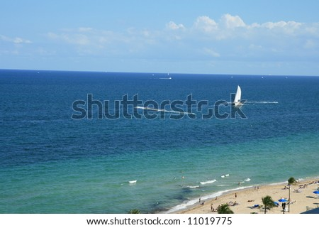 Aerial view of the shades of Blue at The Beach and Atlantic Ocean in Fort Lauderdale, Florida - stock photo