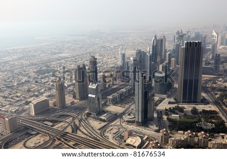 Aerial view of the Sheikh Zayed Road in Dubai, United Arab Emirates