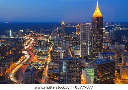 Aerial view of the skyline of downtown Atlanta, Georgia - stock photo