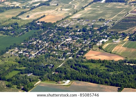 aerial view of the small town of Copetown located in southern Ontario near Hamilton, Ontario Canada - stock photo