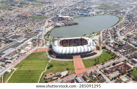 Aerial view of the soccer stadium and lake in Port Elizabeth, South Africa - stock photo
