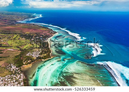 Aerial view of the south coast of Mauritius. Amazing landscape