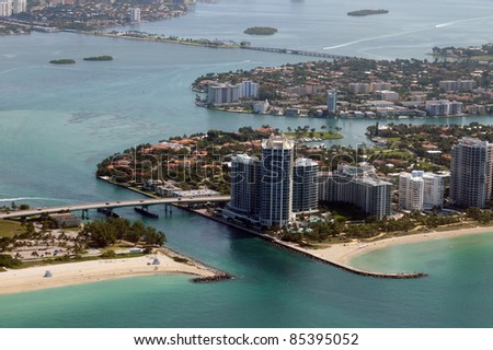 Aerial view of the South Florida coastline near Miami - stock photo