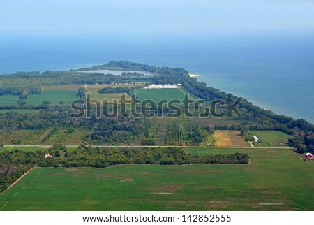 aerial view of the Southern tip towards Lake Henry  on  Pelee island Lake Erie, Ontario Canada - stock photo