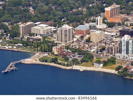 aerial view of the Spencer Smith Park with the new pier along the shore of Lake Ontario, Burlington Ontario Canada - stock photo