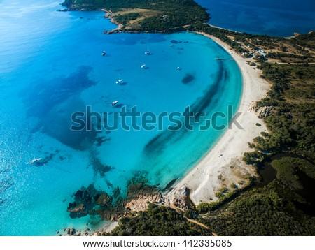 Aerial View of the Splendid Rondinara Beach, Corsica, France - stock photo