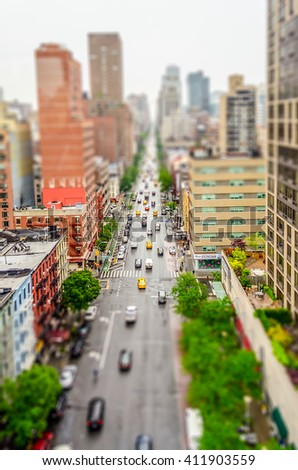 Aerial View of the 1st Avenue, Manhattan, New York City, USA. Tilt-shift effect applied - stock photo