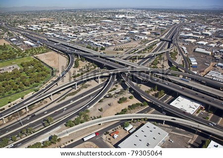 Aerial view of the Stack Interchange - stock photo