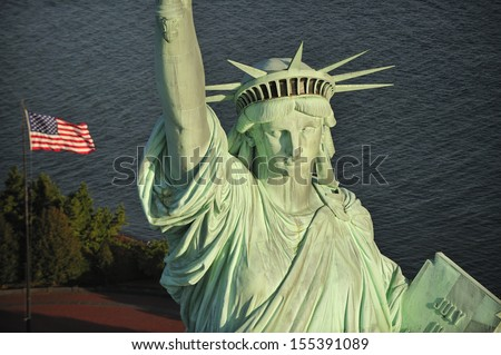 Aerial view of the Statue of Liberty, New York City, New York  - stock photo