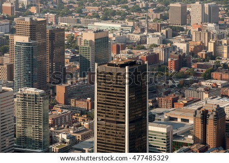 Aerial view of the stock exchange tower in downtown Montreal, Canada.