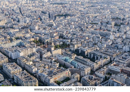 Aerial view of the streets of Paris as seen from Eiffel Tower - stock photo