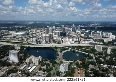 Aerial view of the thriving downtown Orlando, Florida skyline