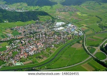 aerial view of the town of Biberach in the Kinzigtal, Baden, Germany
