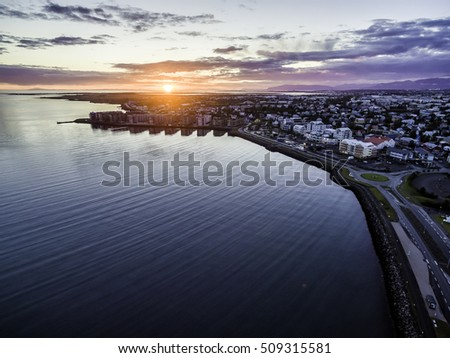 Aerial view of the town of Hafnarfjordur in Iceland at sunset in summer.