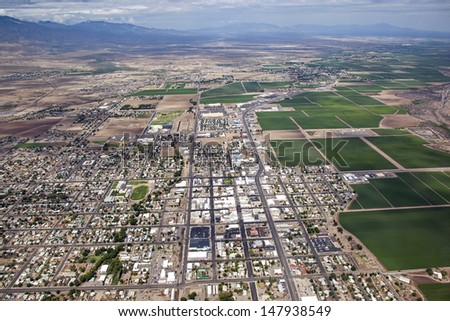 Aerial view of the town of Safford in Southeast Arizona - stock photo