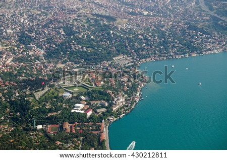 Aerial view of the Turkish city of Istanbul where the Asian side meets the Bosphorus strait around the suburb of Uskudar. - stock photo