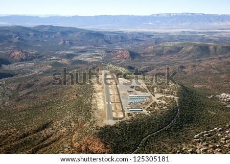 Aerial view of the unique Sedona, Arizona airport - stock photo