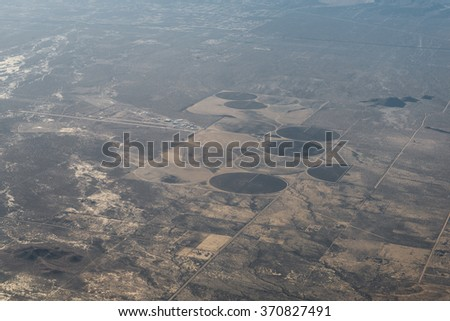 Aerial view of the US coastline and city building - stock photo