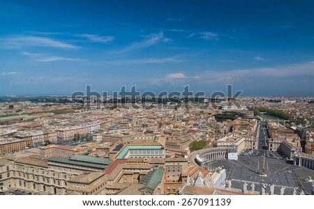 Aerial view of the Vatican City and Rome, Italy. St. Peter's Square, Obelisk, Castle of the Holy Angel. Panorama of the old historical center. View from the roof of Saint Peter Basilica. - stock photo
