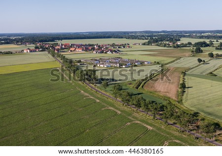 aerial view of the village landscape with harvest fields in Poland
