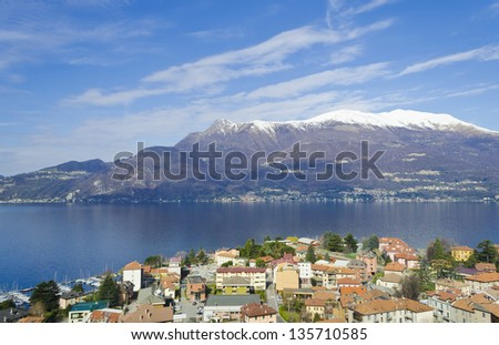 Aerial view of the village of Varenna and Lake Como - Italy - stock photo