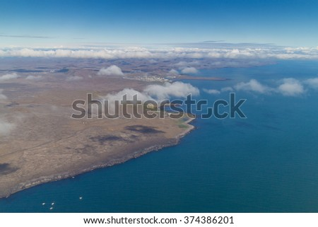 Aerial view of the volcanic and barren coast of Iceland - stock photo