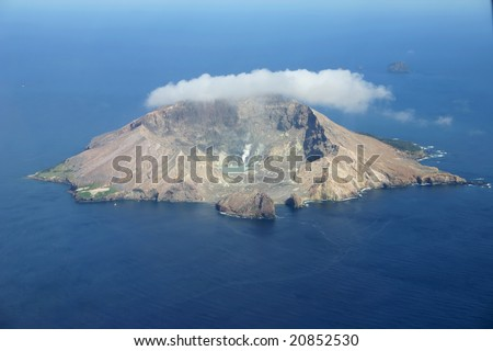 Aerial view of the volcanic island White Island off the coast of New Zealand - stock photo