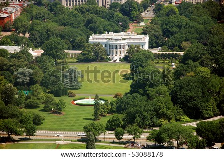 Aerial view of The White house in Washington DC from Washington Monument - stock photo