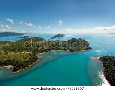 Aerial view of the Whitsunday Islands - stock photo