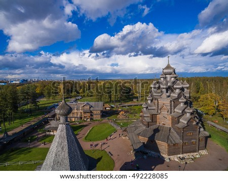 Aerial view of the wooden church in Russia