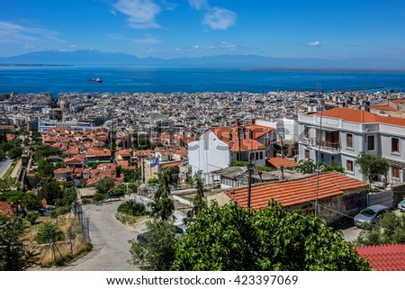 Aerial view of Thessaloniki, Greece. Thessaloniki is the second largest city in Greece and the capital of Greek Macedonia. - stock photo