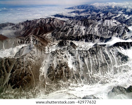 Aerial view of Tien Shan mountains